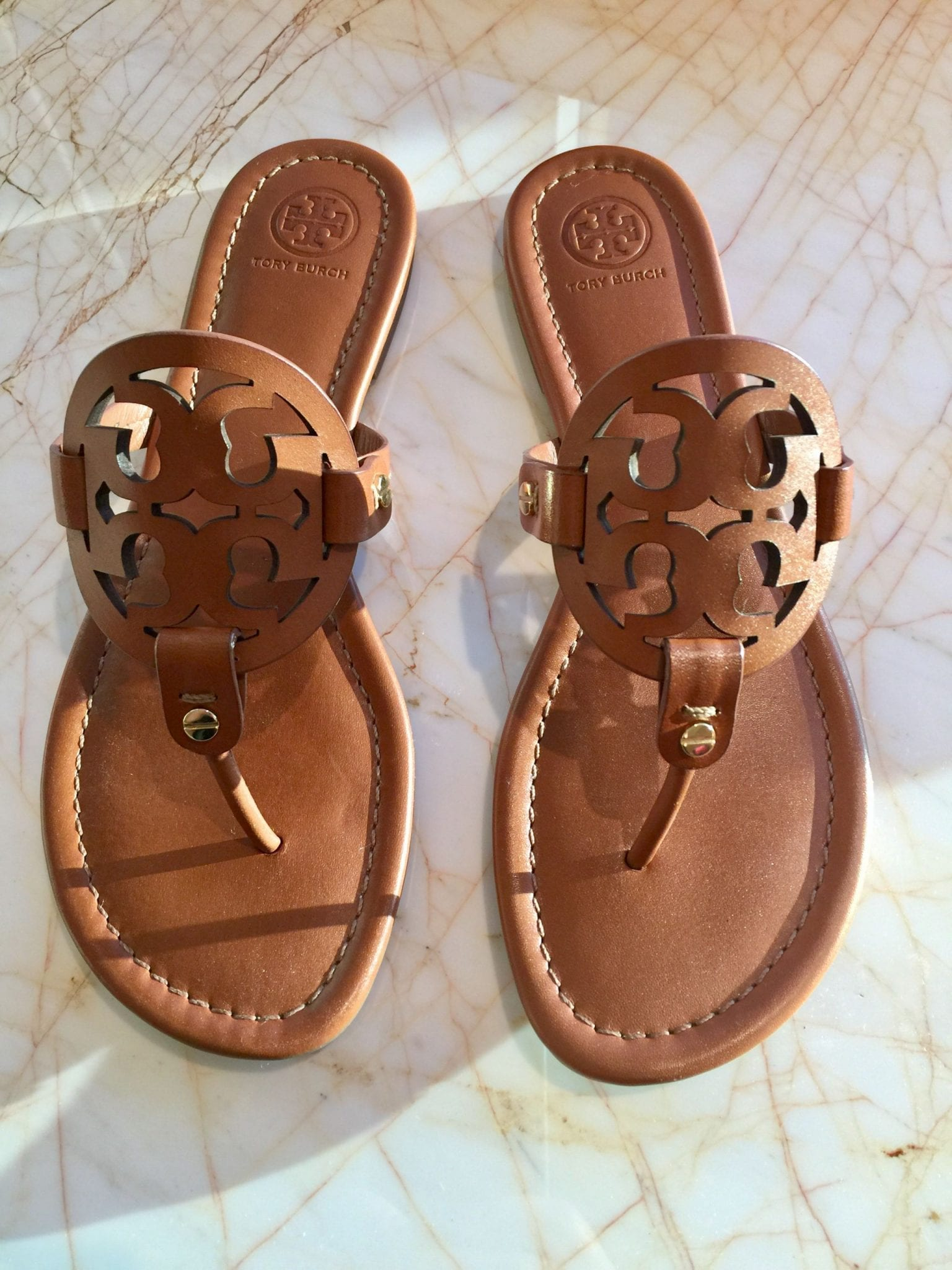 My New Tory Burch Miller Sandals Vintage Vachetta Leather