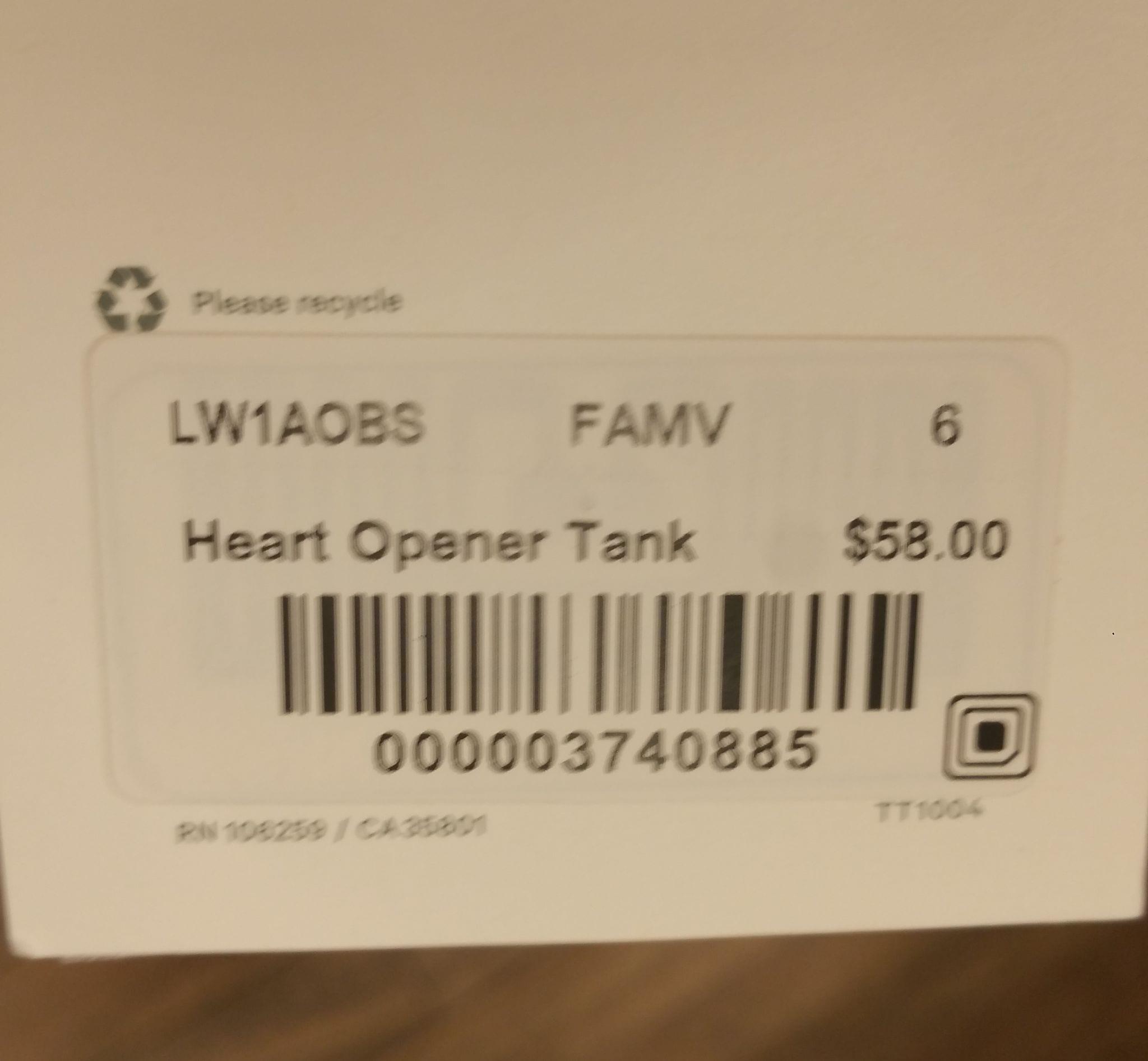 HEART OPENER TANK *TARYN TOOMEY COLLECTION