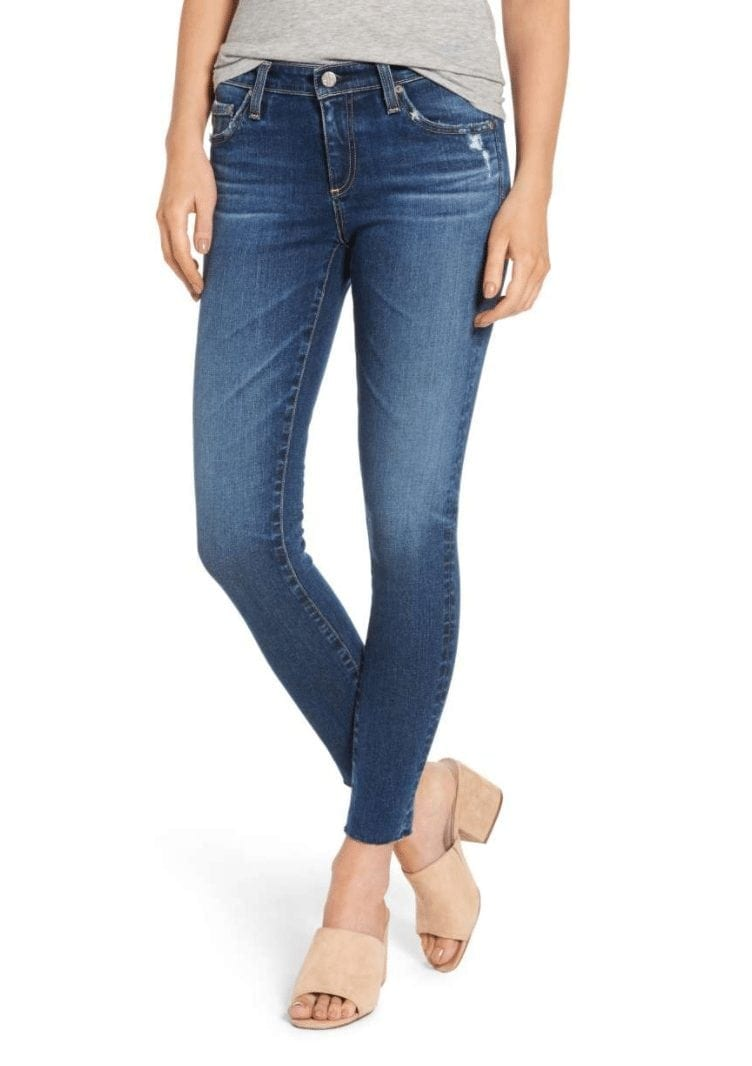 AG THE LEGGING RAW HEM ANKLE SKINNY JEANS