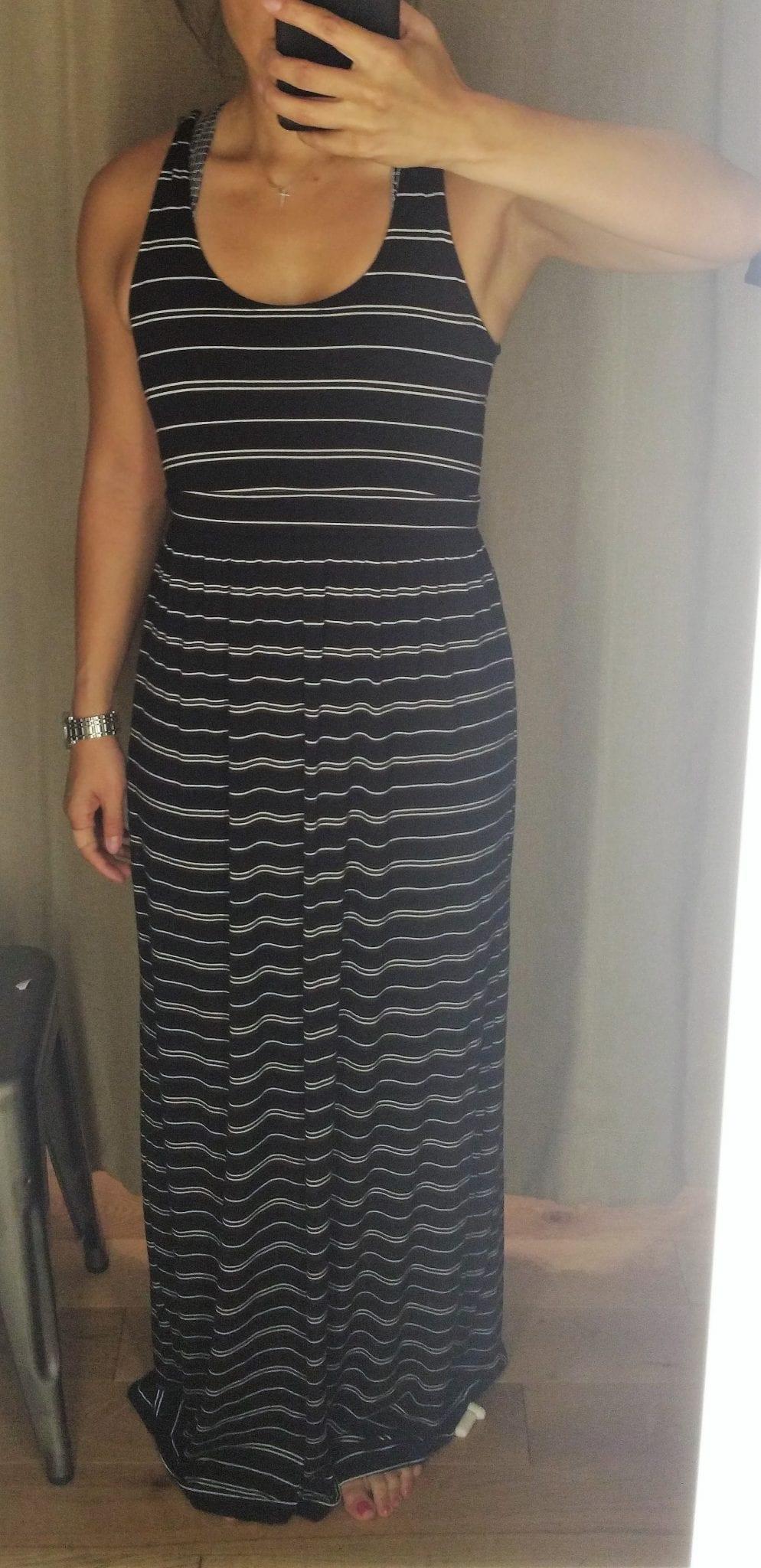 14099481d0 Guest Fit Review: Athleta Downtown Dress, Athleta Striped Maxi Dress
