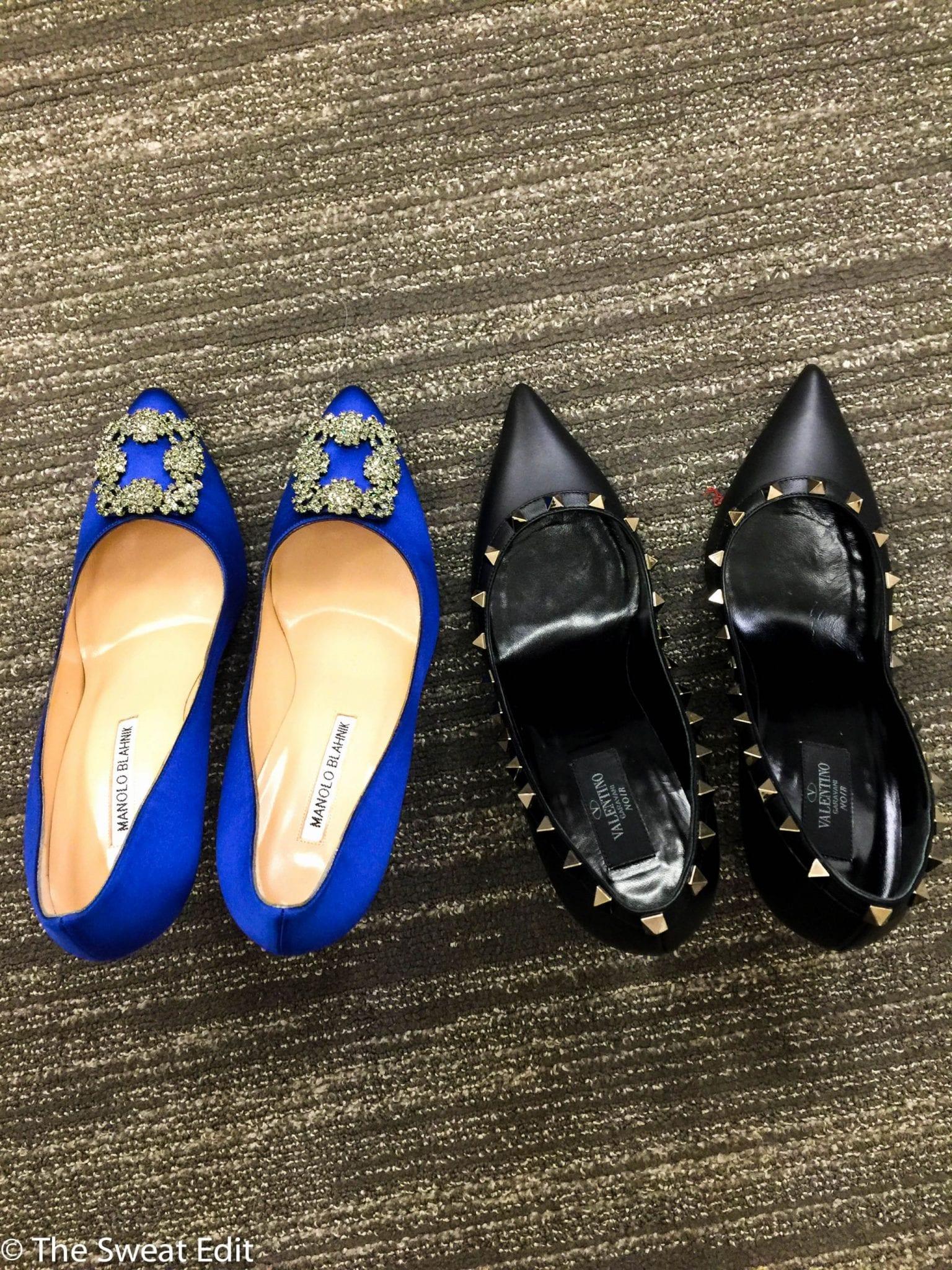 9b1a08b6c123 Shoe Shopping  Manolo Blahnik Hangisi vs. Valentino Rockstud Noir Pumps