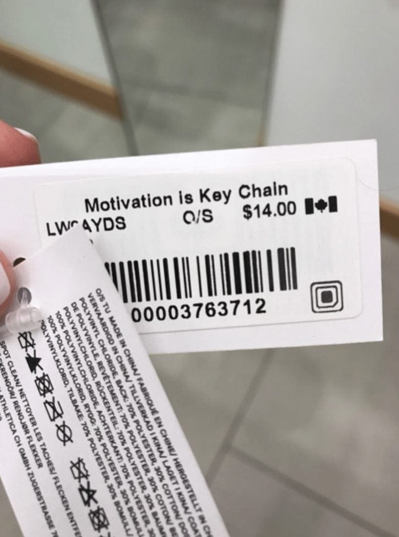 Lululemon Motivation In Key Chain