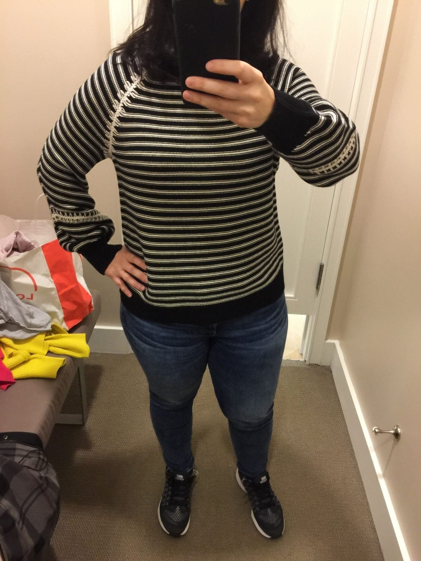 Loft: Striped Whipstitch Sweater