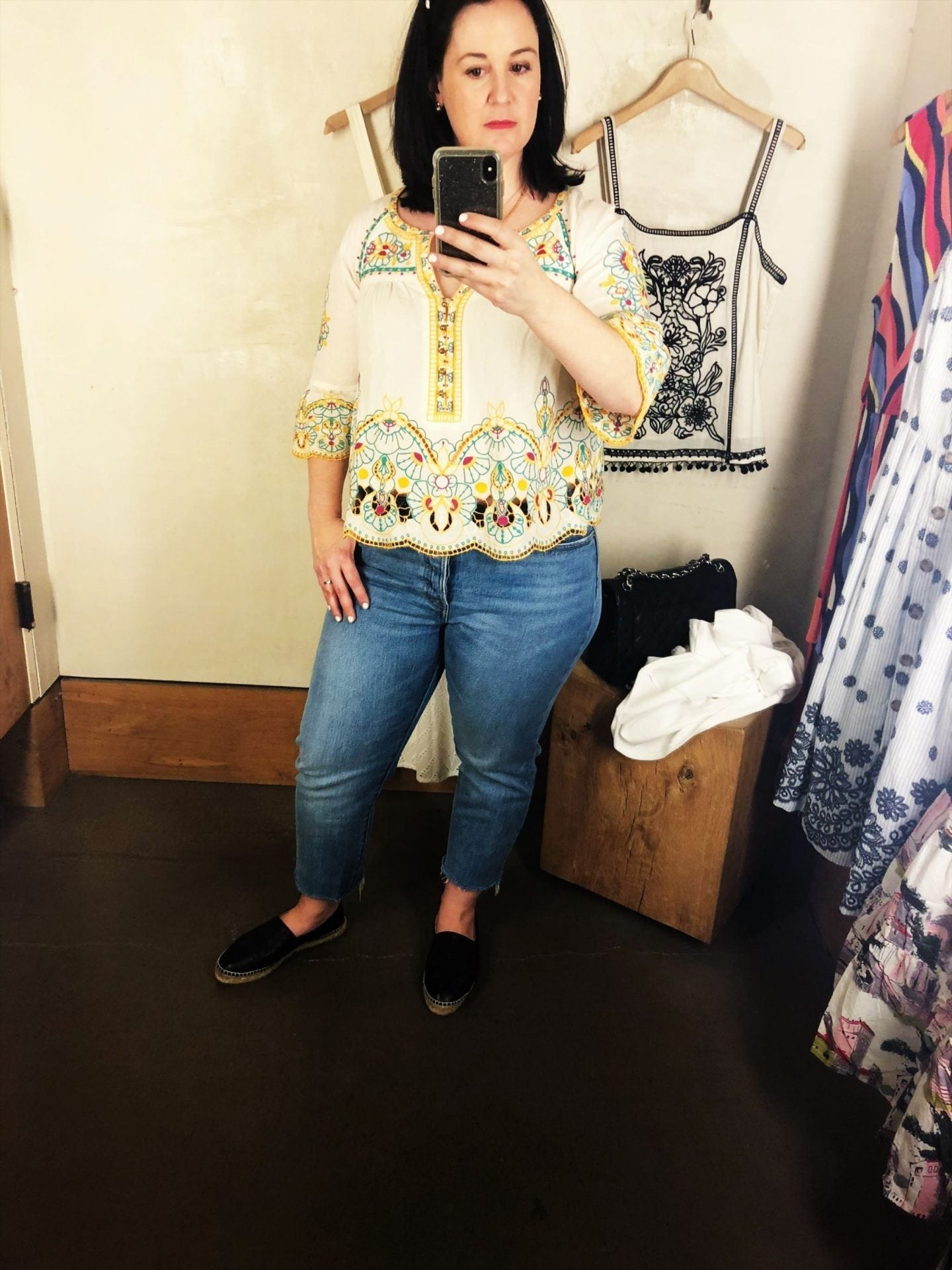 Anthropologie Bisbee Embroidered Top