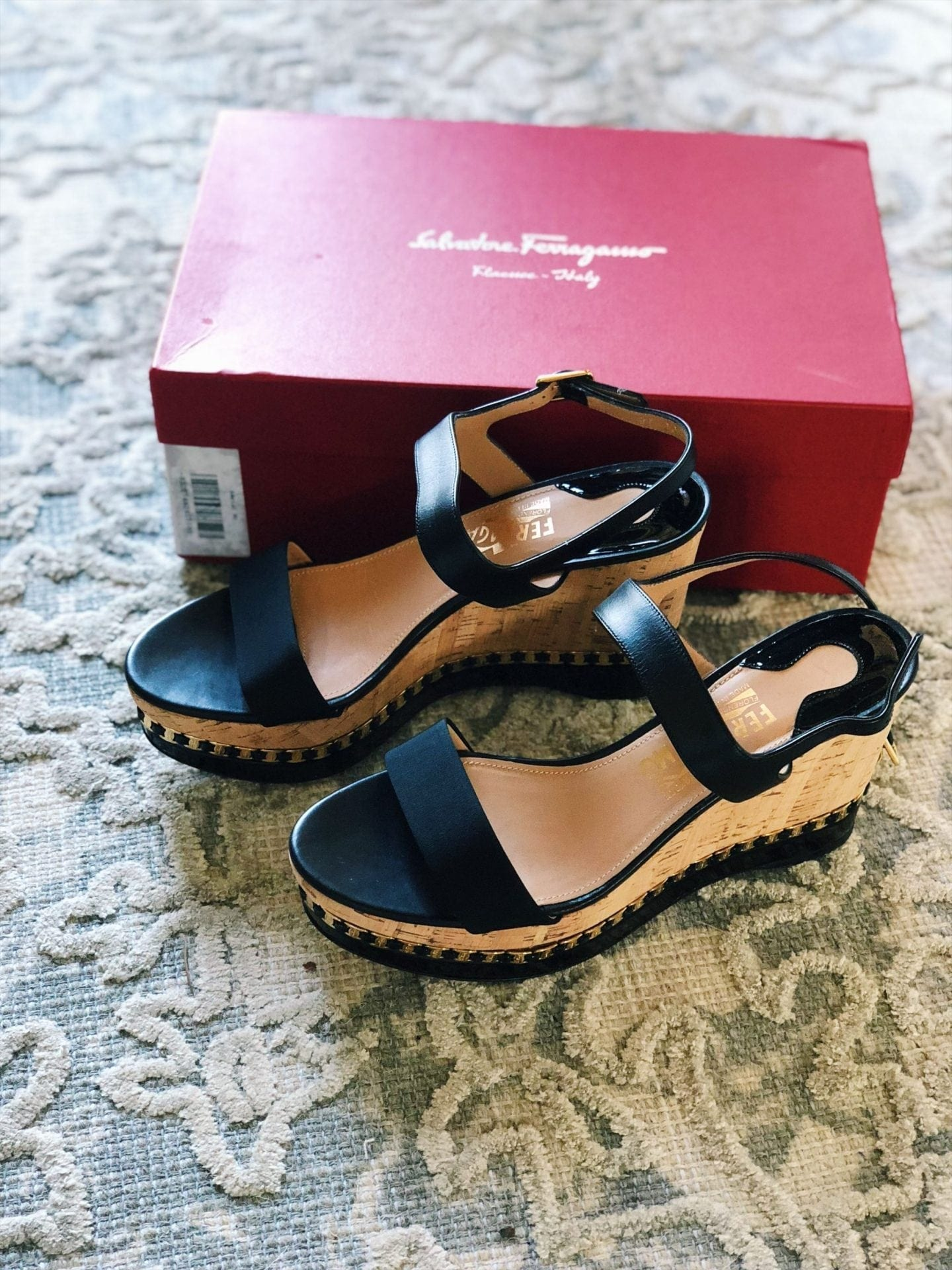 7bdd54357e0 Most of the platform cork wedge sandals out in stores right now have the  ankle strap design. Salvatore Ferragamo Mollie ...