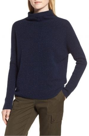 Cashmere Directional Rib Mock Neck Sweater
