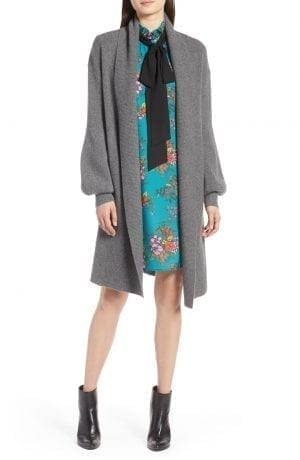 Halogen® Blouson Sleeve Long Cashmere Cardigan