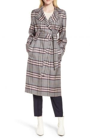 Lewit Bold Plaid Trench Coat