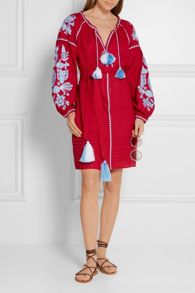 March 11 Poppy Flower Embroidered Dress