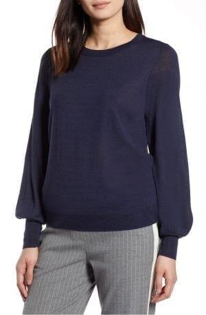 Puff Sleeve Merino Wool Blend Sweater HALOGEN®