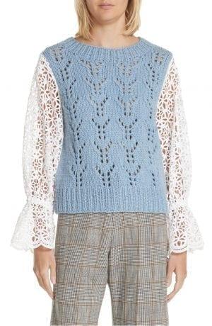 Sea Eyelet Sleeve Wool Blend Sweater