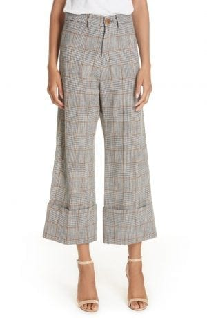Sea Plaid Cuffed Wide Leg Pants
