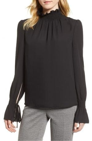 Smocked Neck Blouse VINCE CAMUTO Black