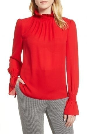 Smocked Neck Blouse VINCE CAMUTO Red