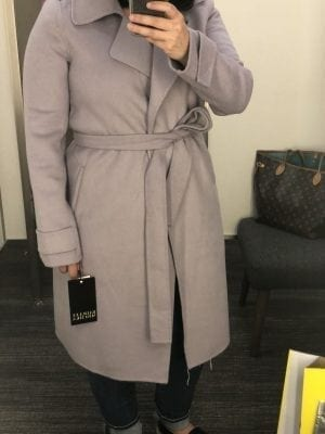 Double Face Wool Blend Wrap Front Coat BADGLEY MISCHKA