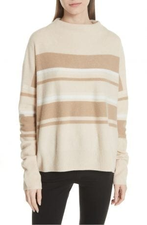 Cashmere Ombré Stripe Mock Neck Sweater VINCE