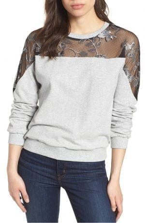 Embroidered Swiss Dot Panel Sweatshirt VINCE CAMUTO