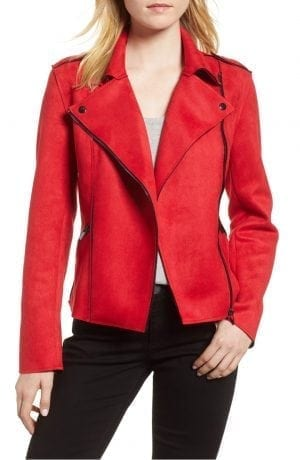 Haddie Faux Suede Moto Jacket KUT FROM THE KLOTH Red