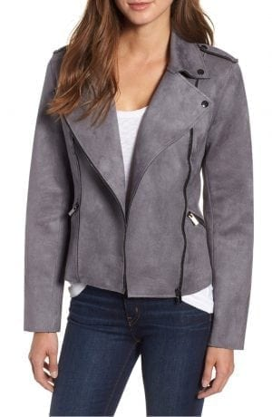 Haddie Faux Suede Moto Jacket KUT FROM THE KLOTH Grey