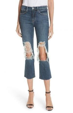 Jordan Ripped Crop Bootcut Jeans L'AGENCE