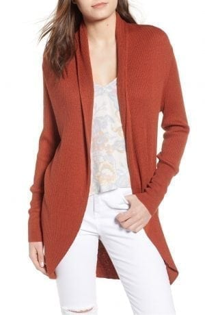 LEITH RIBBED SHAWL COCOON SWEATER Orange| NORDSTROM Anniversary Sale 2018