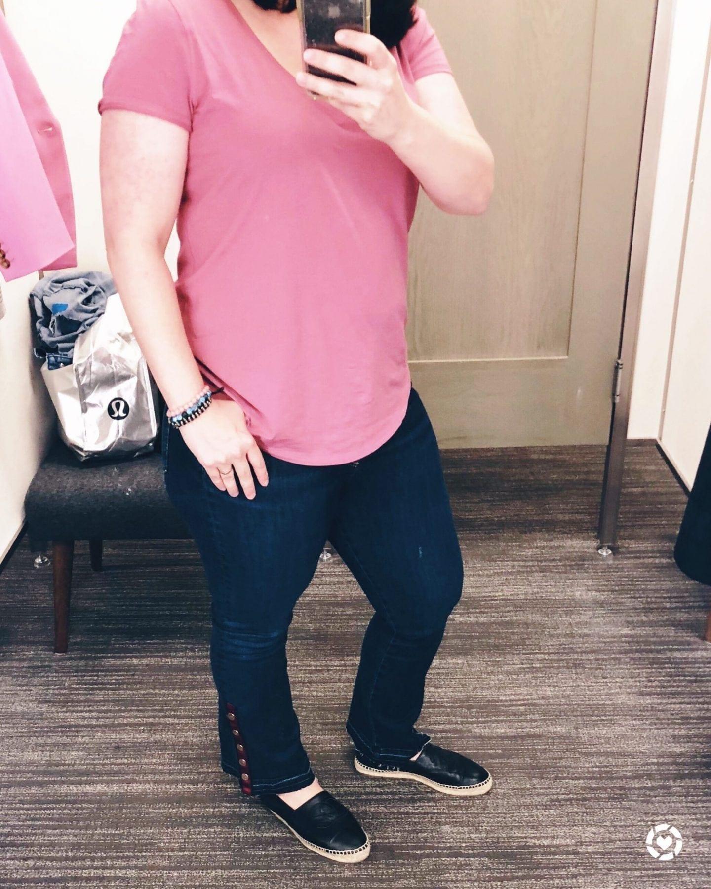 Nordstrom Anniversary Sale 2018 Dressing Room Selfies, Veronica Beard Button Hem Baby Boot Jeans