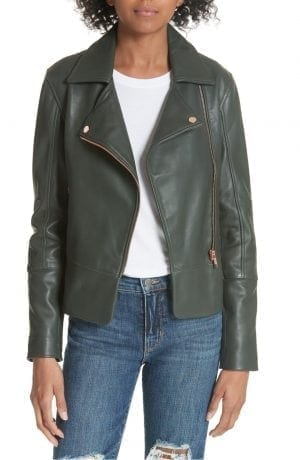 Ted Baker Lizia Leather Biker Jacket Green