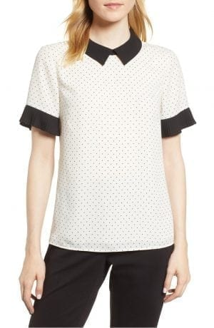 pleat Sleeve Polka Dot Blouse CECE White