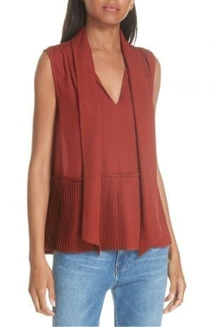 Pleated Peplum Hem Silk Tank FRAME