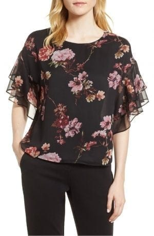 Tiered Ruffle Sleeve Garden Floral Top VINCE CAMUTO