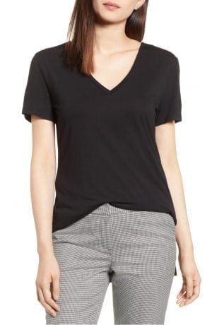 Halogen V-Neck Tunic Tee Black