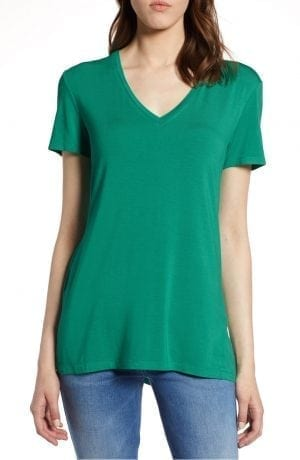 Halogen V-Neck Tunic Tee Green