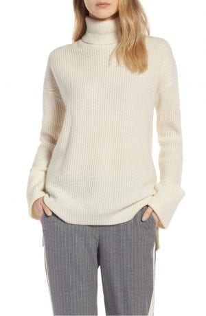 Halogen® WIDE CUFF TURTLENECK CASHMERE SWEATER , white