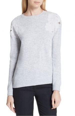 Yizelda Lace Shoulder Sweater TED BAKER LONDON Grey