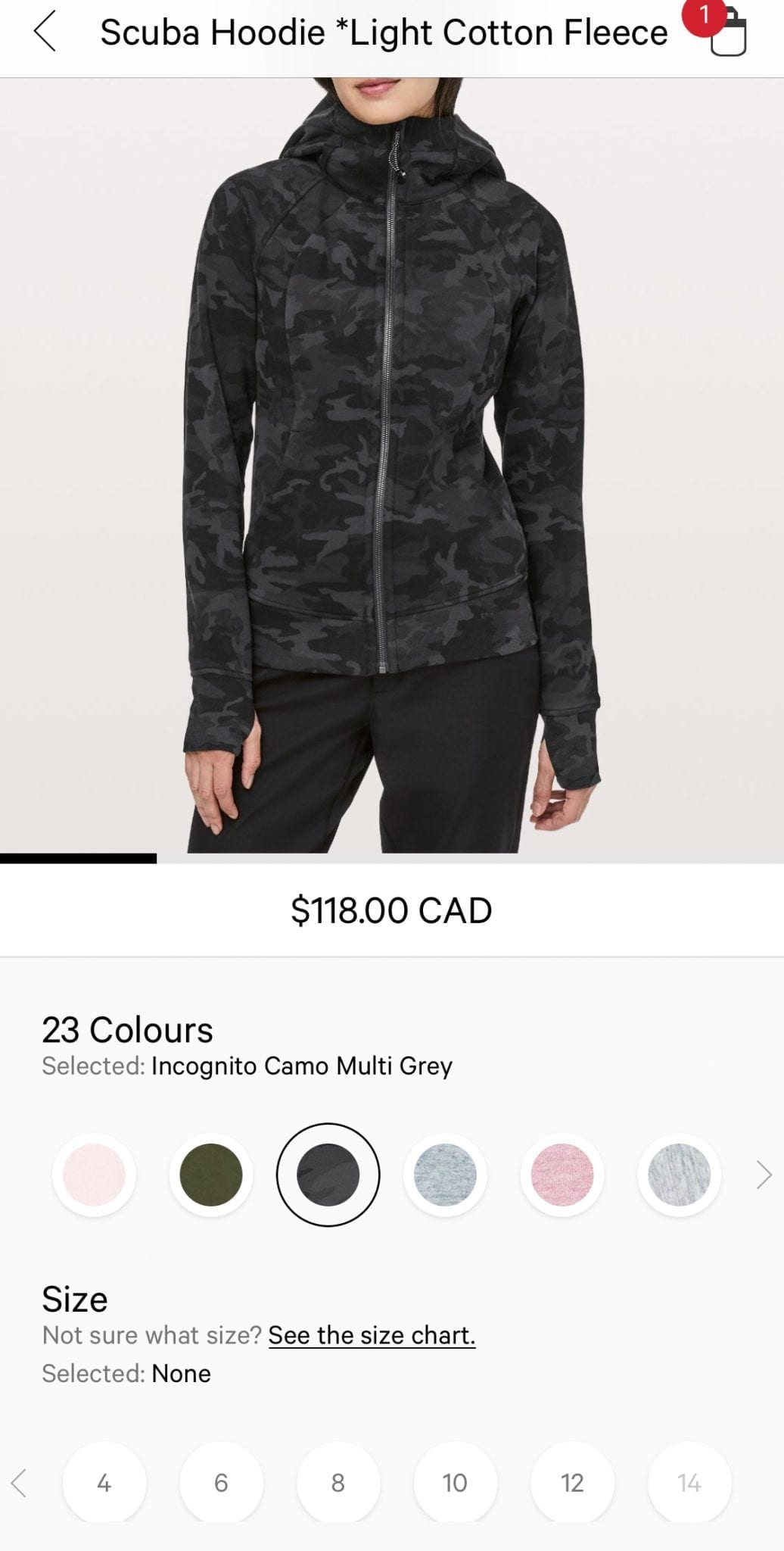 Lululemon Scuba Hoodie Incognito Camo in size 14