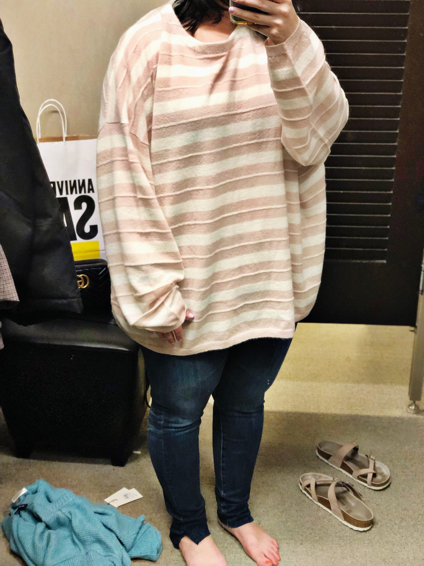 Anniversary Sale 2019 Dressing Room Selfies | Cassia Stripe Boat Neck Sweater ALLSAINTS