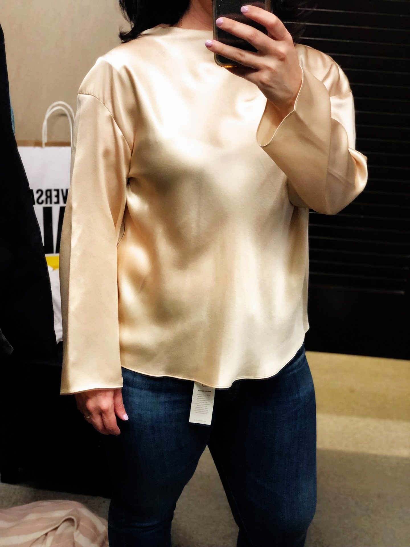 Side Drape Long Sleeve Silk Blouse VINCE, Anniversary Sale Dressing Room Selfies