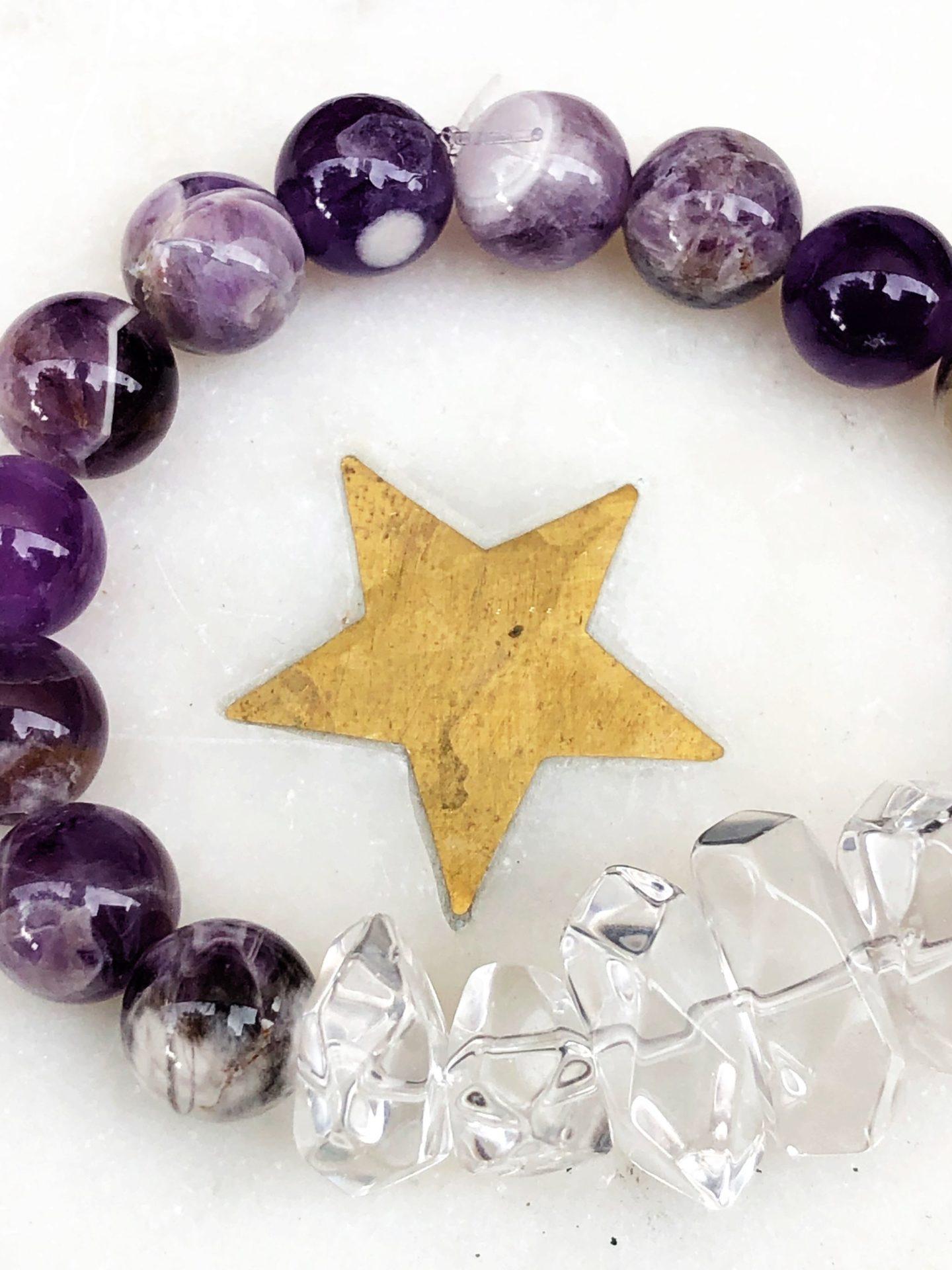 Chevron Amethyst and Crystal Quartz Empress Mala Designs