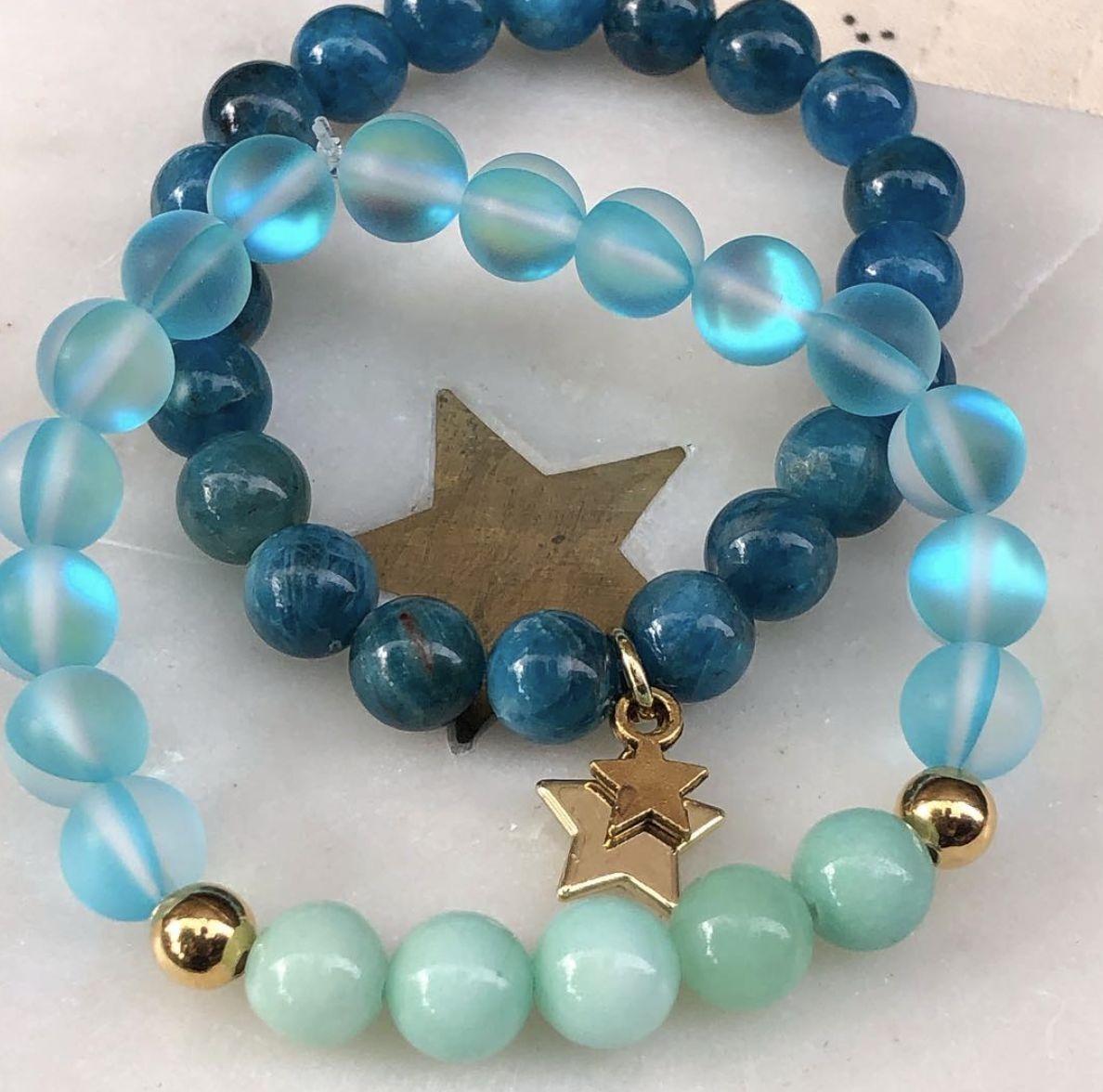 Empress Mala Designs, Apatite Mala Bead Bracelet, Aqua Aura Quartz Mala Bead Bracelet