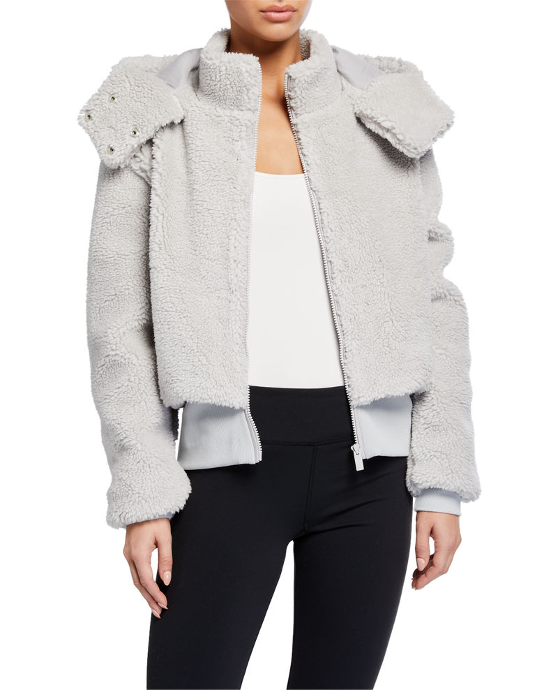 ALO YOGA FOXY SHERPA HOODED ACTIVE JACKET