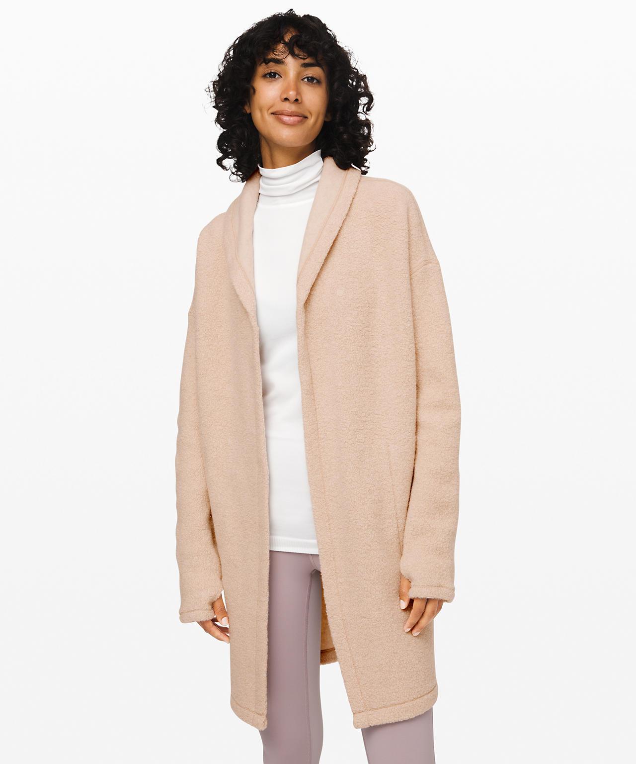 Sincerely Sherpa wrap, Lululemon Upload, lululemon cozy wrap sweaters